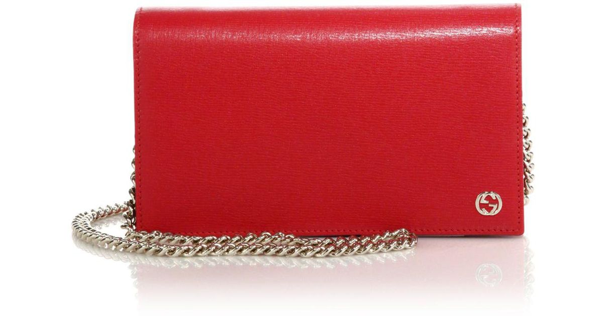 bac6efb97c11d0 Gucci Betty Leather Chain Wallet in Red - Lyst