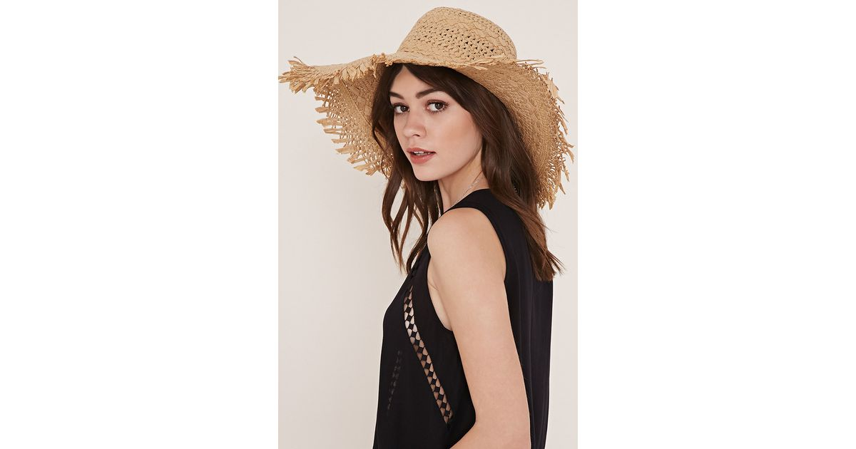 Lyst - Forever 21 Frayed Floppy Straw Hat in Natural b751d4cf1ead