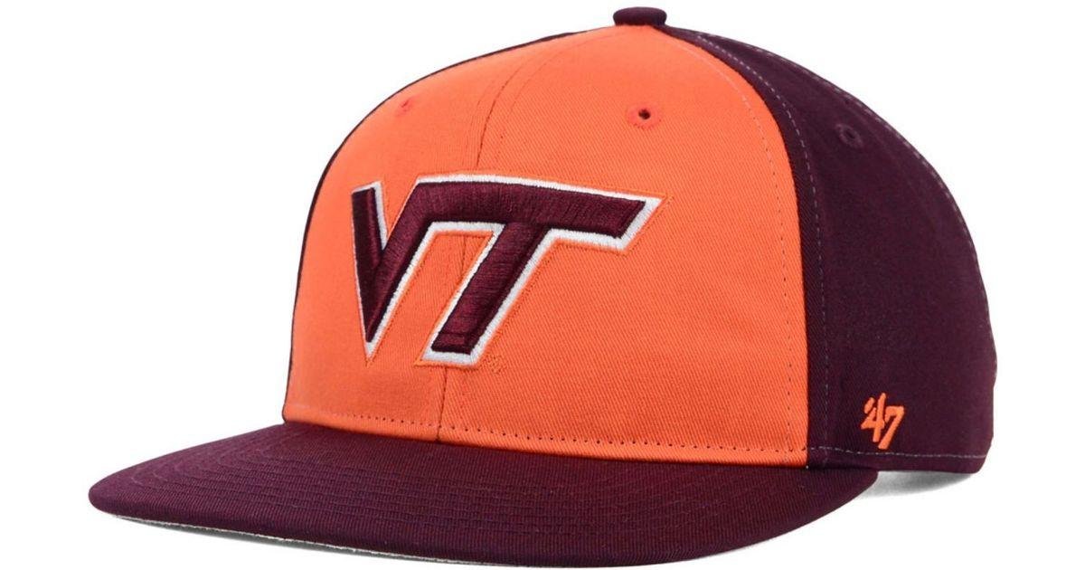 the latest 83c9d 4d451 47 Brand Kids  Virginia Tech Hokies Snapback Cap in Orange for Men - Lyst