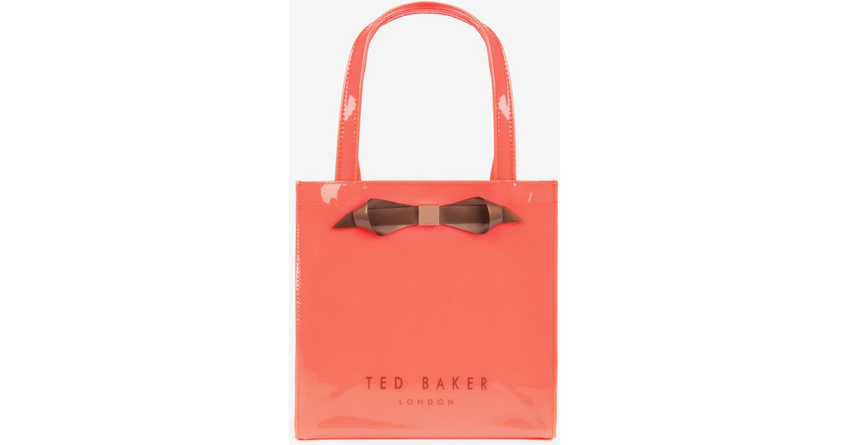 30aae9ec3f2f Ted Baker Small Patent Bow Shopper in Orange - Lyst