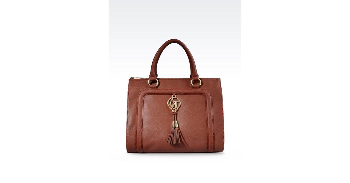 Lyst - Armani Jeans Bauletto Bag in Faux Saffiano with Tassels in Brown dcfefcb9fd