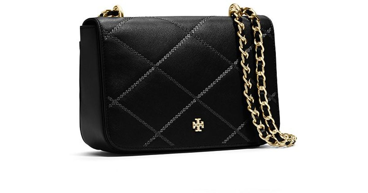 4398988e9568 ... best lyst tory burch robinson stitched adjustable shoulder bag in black  42231 f8ab1