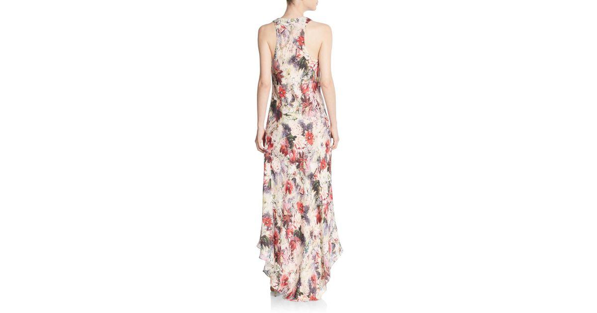 fec5282663be Haute Hippie Floral Silk Cowlneck Maxi Dress in Pink - Lyst