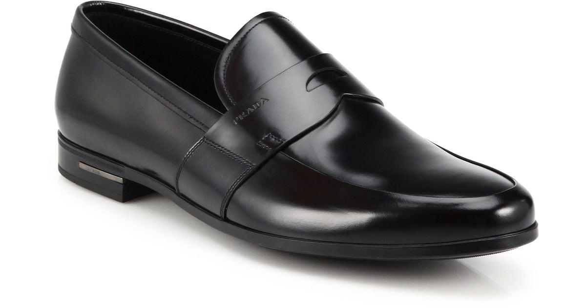 0b86f0df7d8 ... store lyst prada spazzolato leather penny loafers in black for men  bbf33 0b791 ...