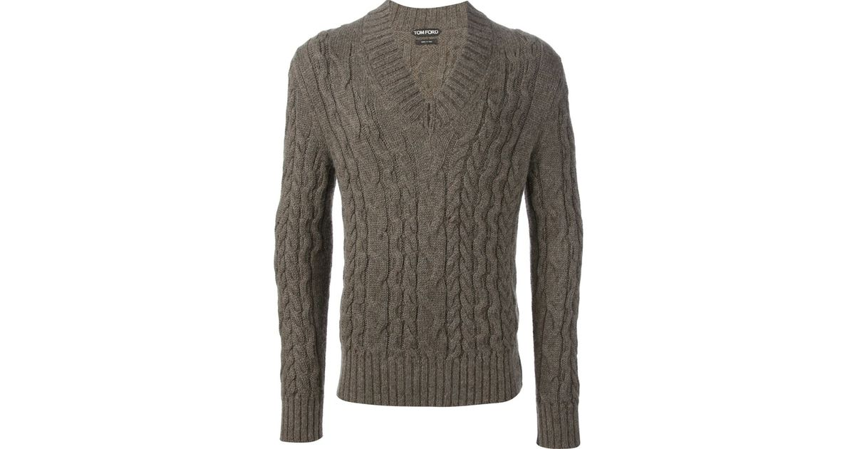 Tom ford Cable Knit Sweater in Brown for Men | Lyst