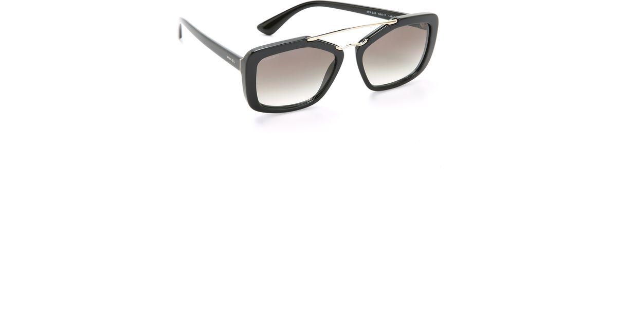 007e86627a32 Prada Catwalk Aviator Sunglasses - Black/grey Gradient in Black - Lyst