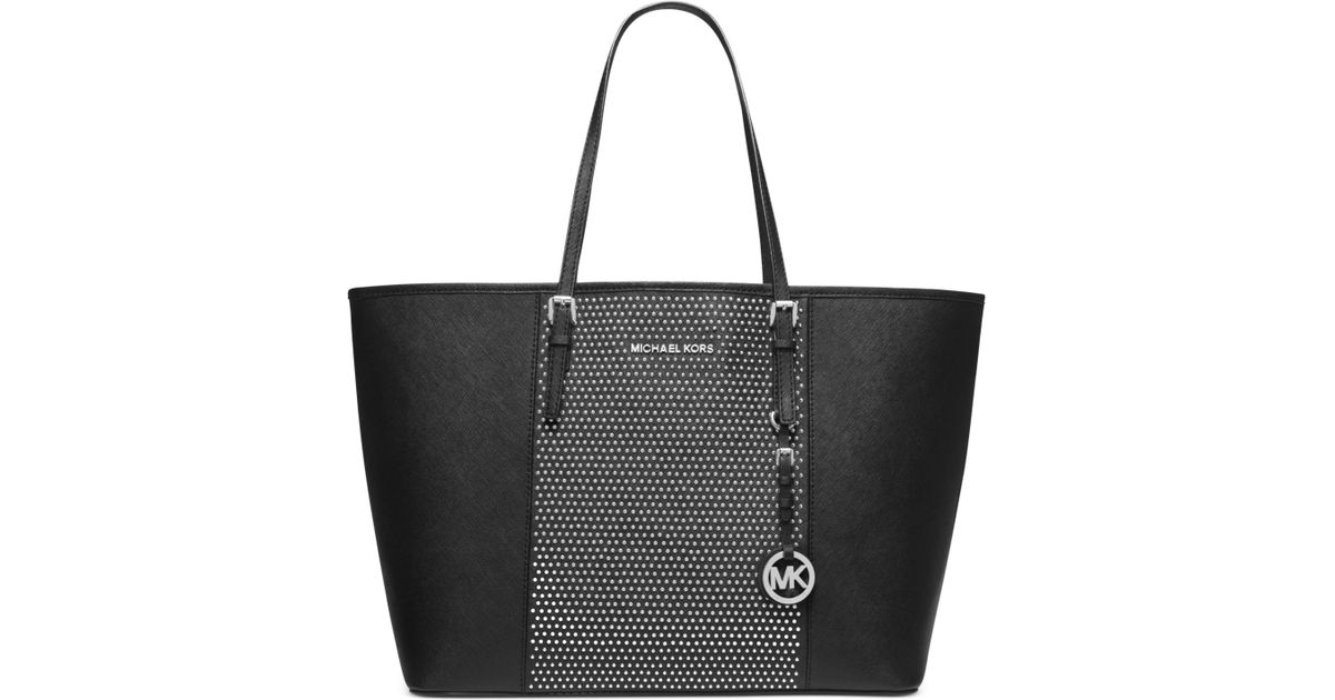 befee7ac3df2 Michael Kors Michael Microstud Center Stripe Medium Travel Tote in Black -  Lyst