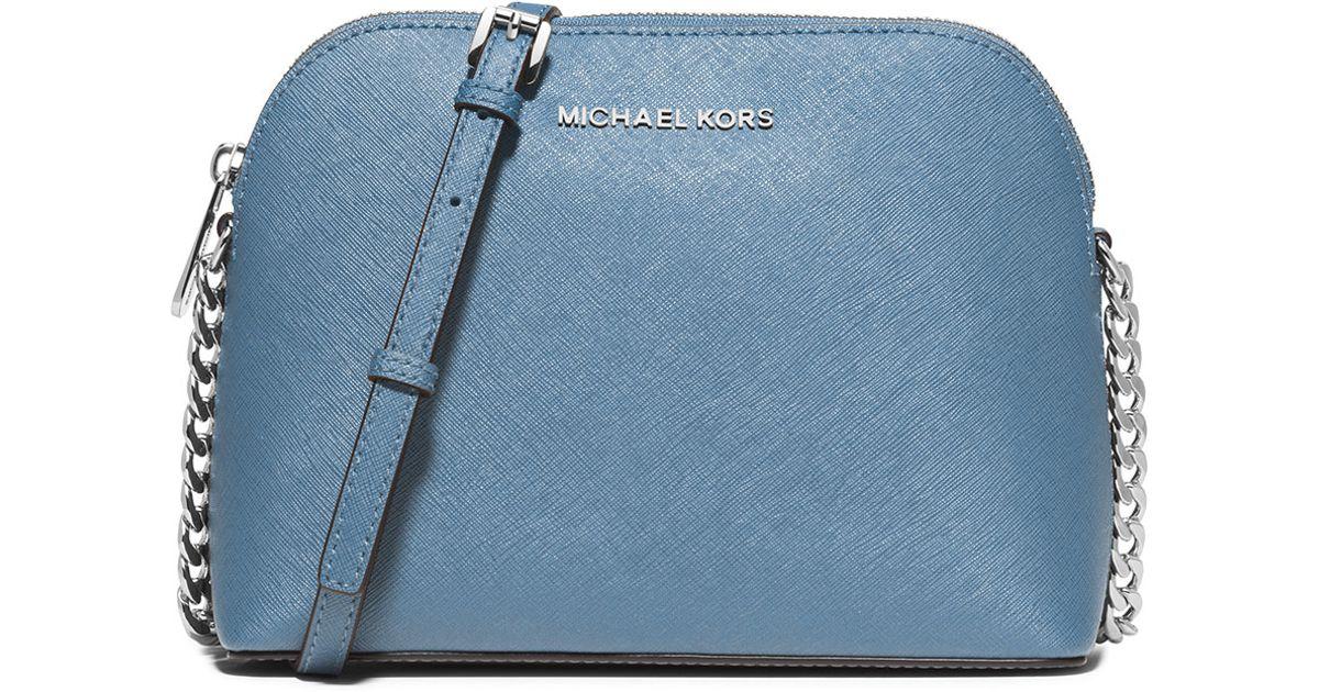 ca08d3c7fa423c MICHAEL Michael Kors Cindy Large Dome Saffiano Crossbody Bag in Blue - Lyst