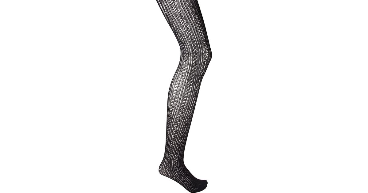 Forever 21 Striped Open Knit Tights In Black Lyst