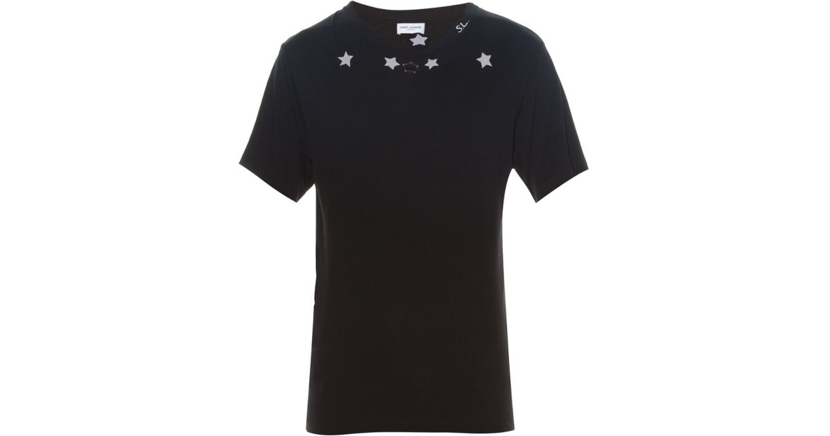 53f3a6a7 Top Lyst - Saint Laurent Star-print T-shirt in Black for Men ZE66