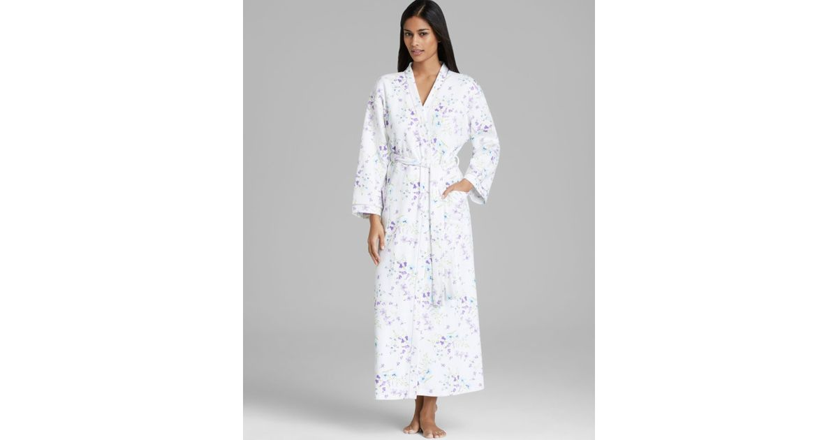 Lyst - Carole Hochman Hushed Violets Long Waffle Robe in White