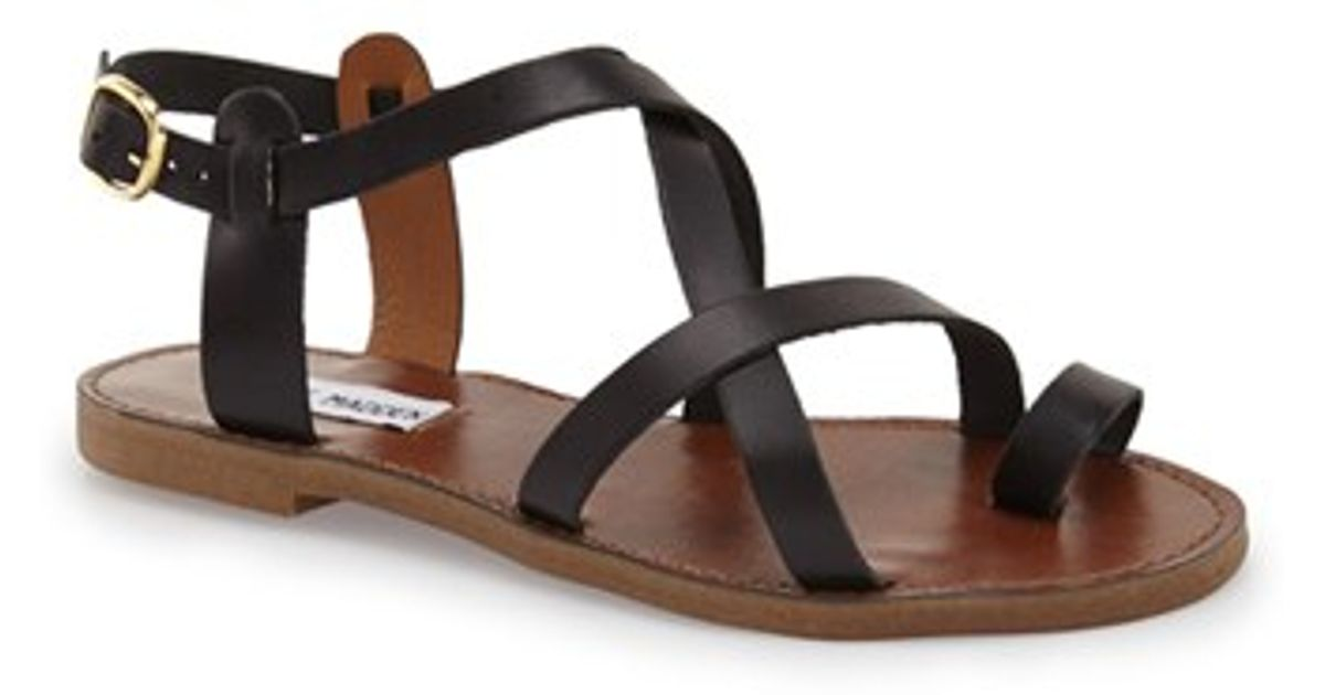 36252427ca79 Lyst - Steve Madden Agathist Ankle-Strap Leather Sandals in Black