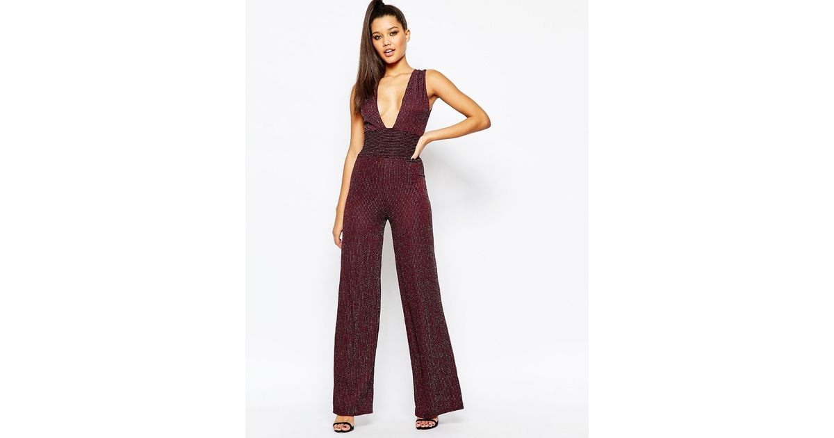 98ec7e41bfad Lyst - Missguided Metallic Plunge Neck Wide Leg Glamour Jumpsuit in Purple