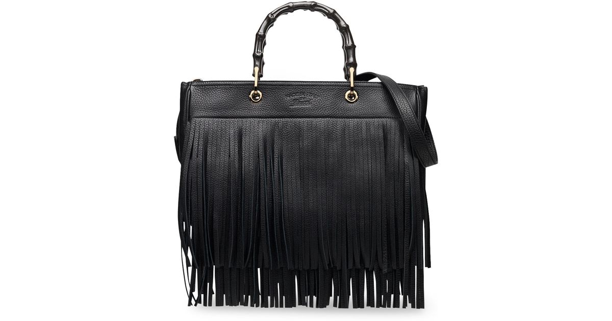 492785fed200 Gucci Bamboo Leather Fringe Shopper Tote Bag in Black - Lyst