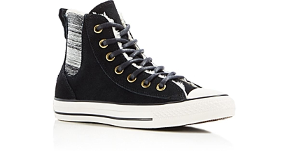 Lyst - Converse Chuck Taylor All Star Chelsea Faux-shearling High Top  Sneakers in Black