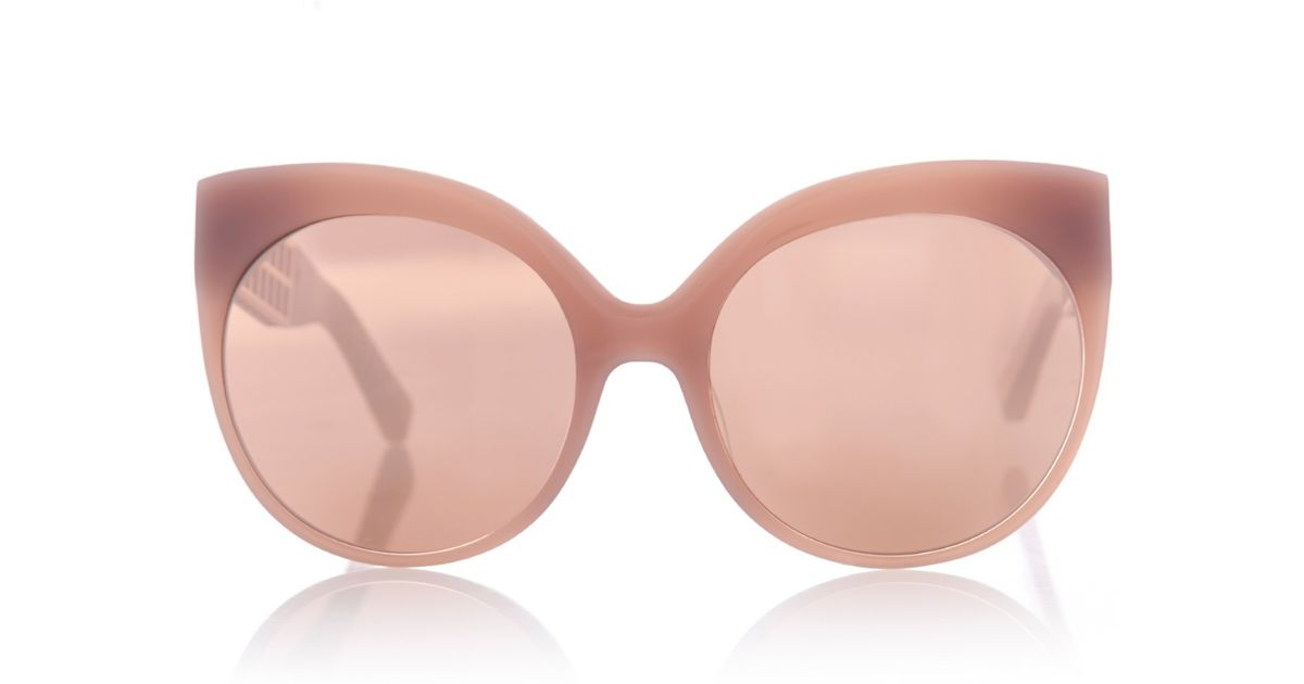 44ef71a3eaf Lyst - Linda Farrow Rounded Cat-Eye Caged Sunglasses in Pink