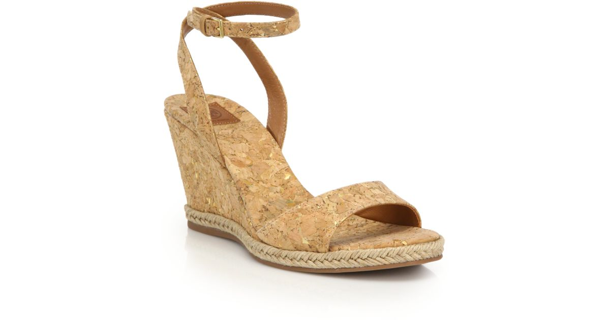c37b3e23d57851 Lyst - Tory Burch Marion Cork Wedge Sandals in Natural