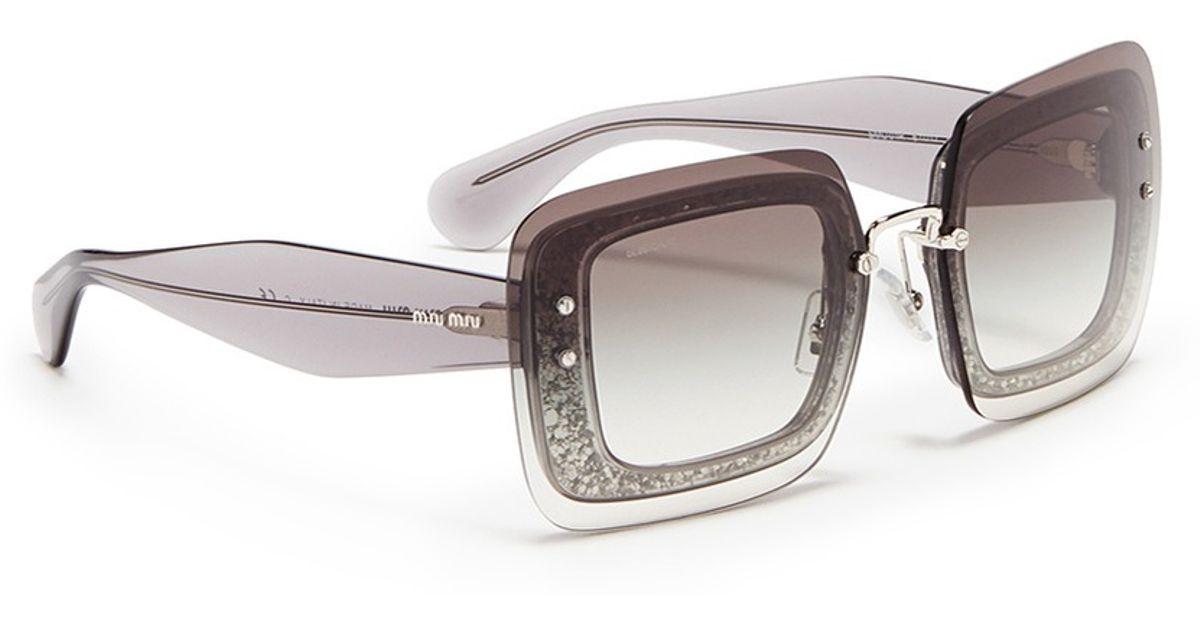 9573c4459041 Miu Miu Oversize Lens Glitter Square Acetate Sunglasses in Gray - Lyst