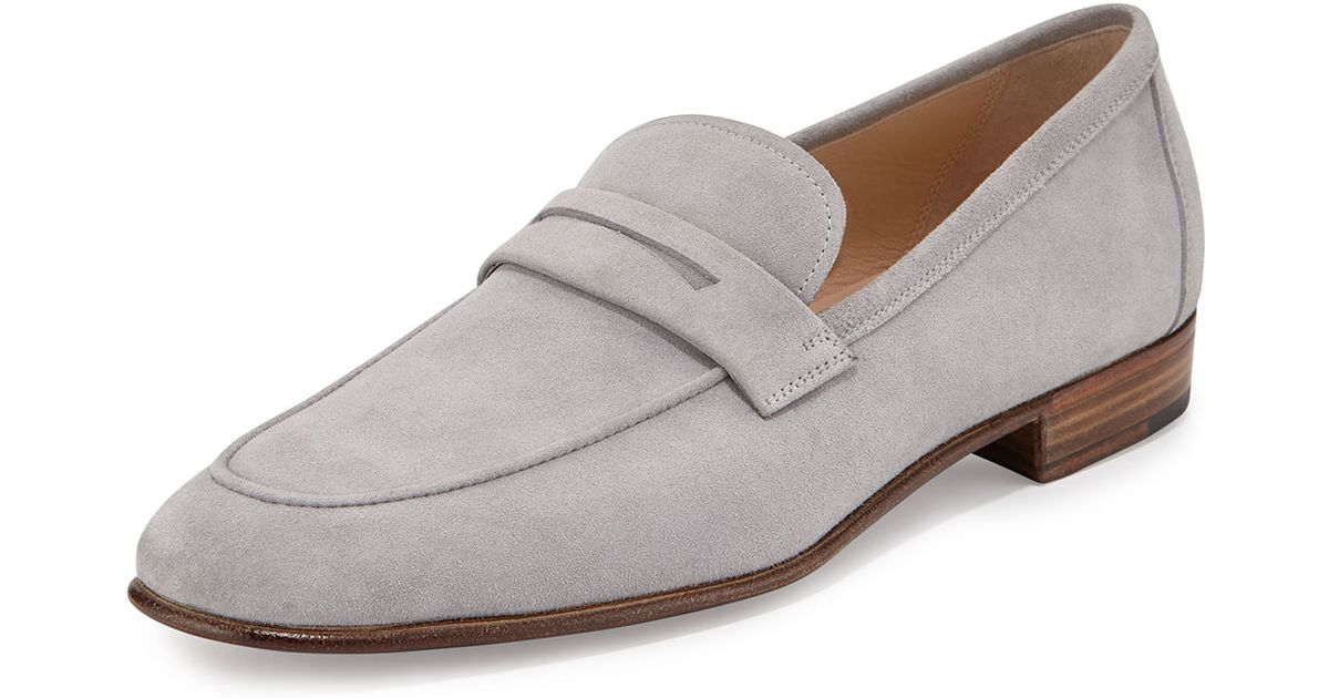 fb2428c5f1f Lyst - Gravati Suede Penny Loafer in Gray for Men