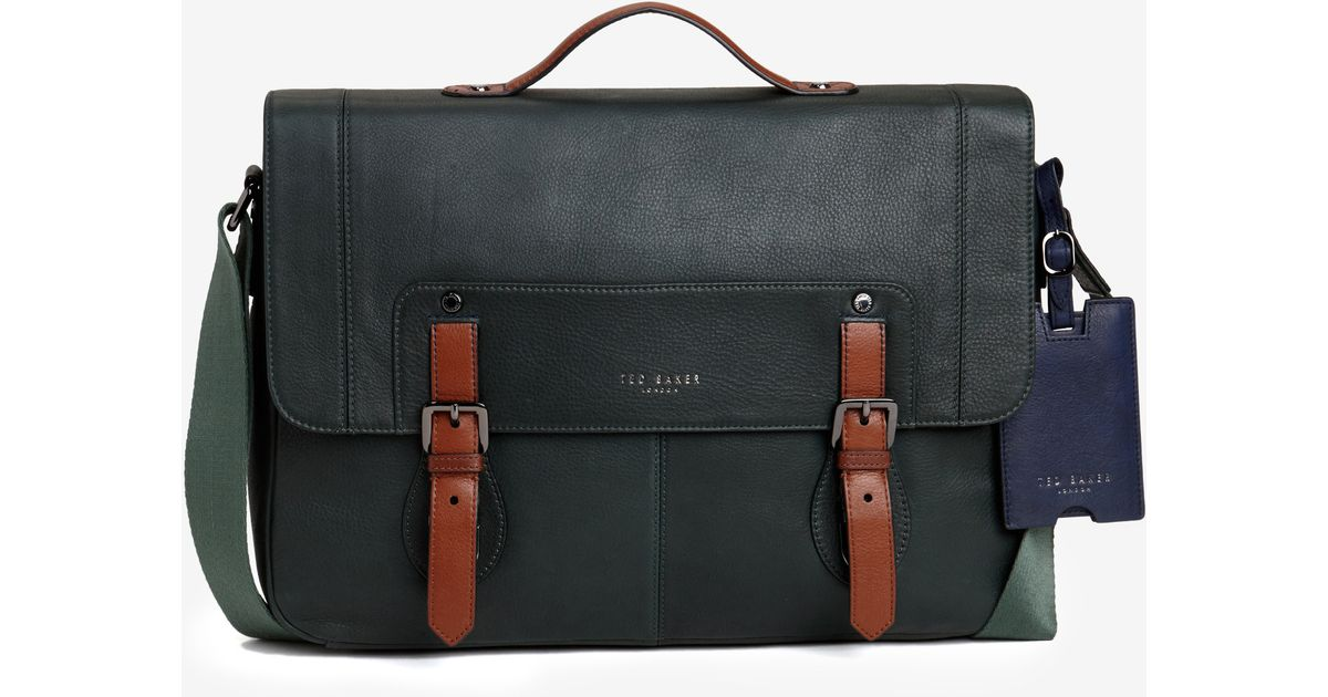 e66d0805f1411d Lyst - Ted Baker Color Block Leather Messenger Bag in Green for Men