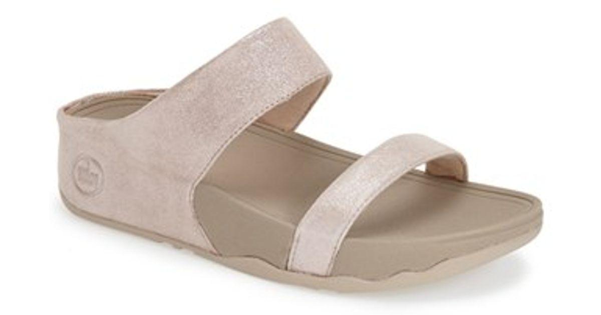 8b75c3ee3540 Lyst - Fitflop  lulu Shimmersuede  Slide Sandal in Natural