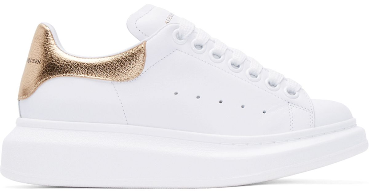 f31db12f58847 Lyst - Alexander McQueen White And Gold Leather Sneakers in White