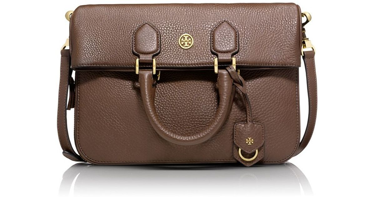 67bfa981a9b Lyst - Tory Burch Robinson Pebbled Foldover Messenger in Brown