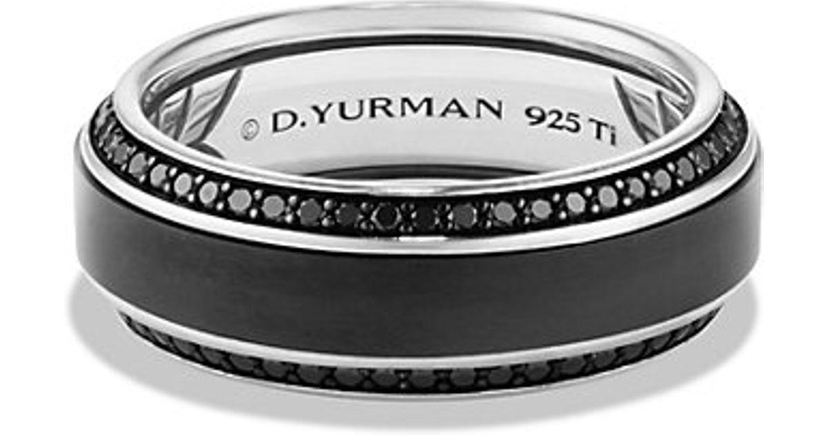 David Yurman Streamline Beveled Edge Band Ring With Black