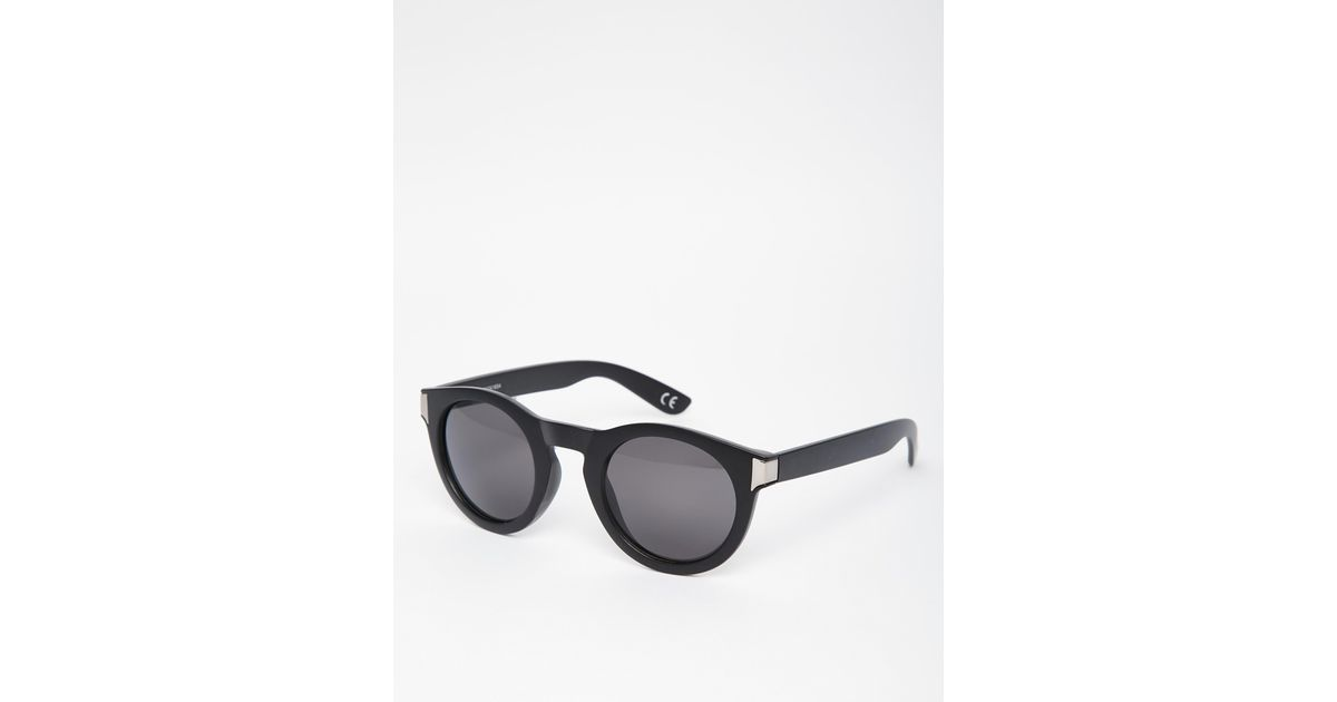 dc598078a25 Lyst - ASOS Chunky Round Sunglasses In Matte Black And Gunmetal - Black in  Black for Men