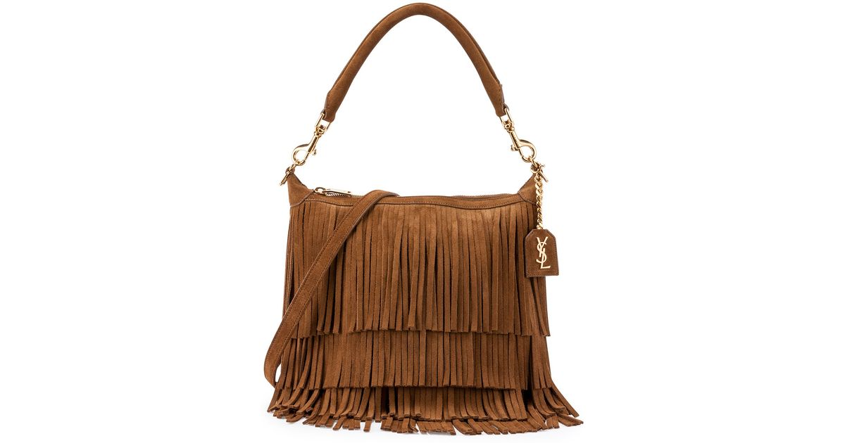 look a like bags - emmanuelle small suede fringe bag, black
