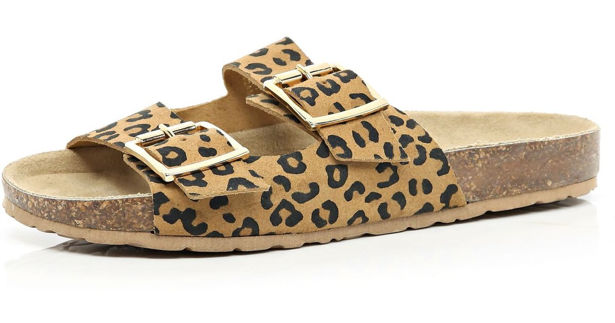 2f2e2ea71e1192 River Island Brown Leopard Print Double Strap Sandals in Brown - Lyst