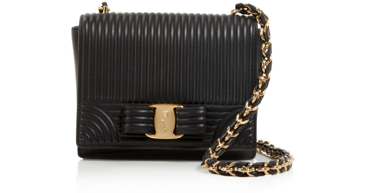 e3573c2b0230 Lyst - Ferragamo Mini Ginny Wave Quilt Shoulder Bag in Black