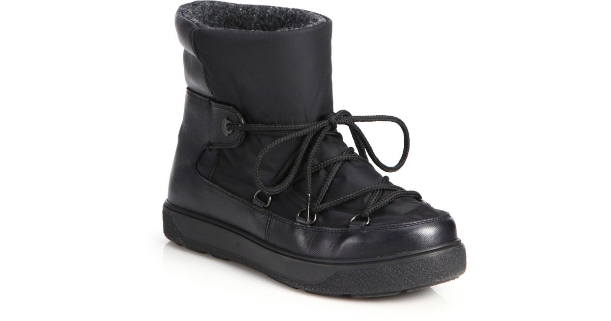 ce24f5d90f6c Lyst - Moncler Fanny Saffiano Leather   Nylon Boots in Black