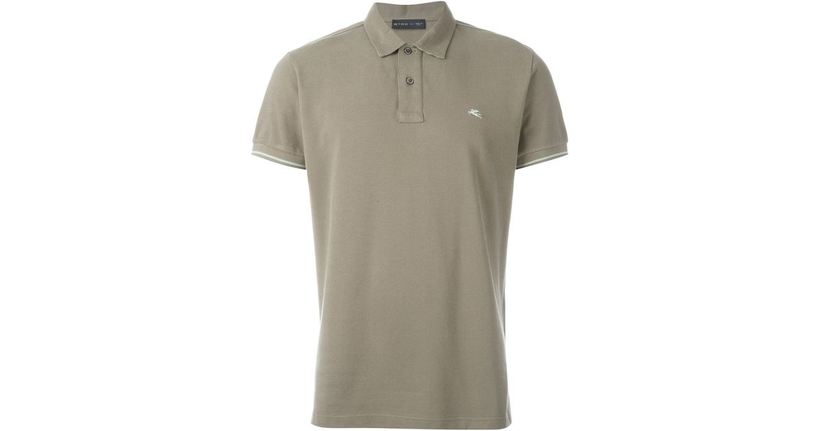 Etro logo embroidered polo shirt in green for men lyst for Work polo shirts embroidered