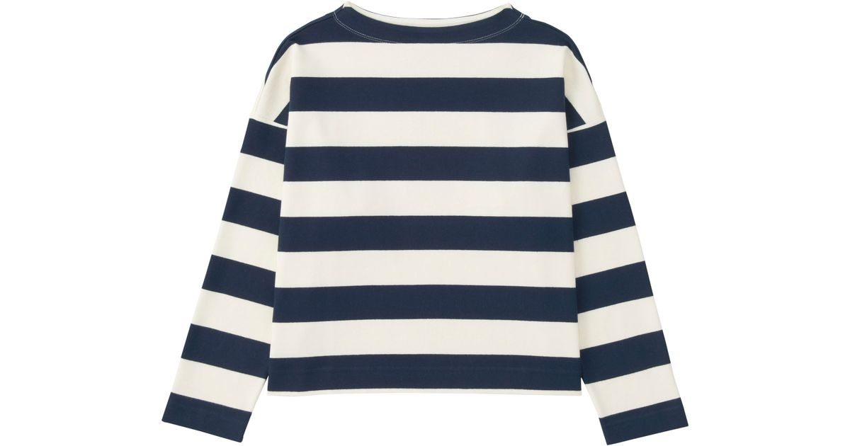 Uniqlo women 39 s striped long sleeve mock neck t shirt in for Blue and white striped long sleeve t shirt