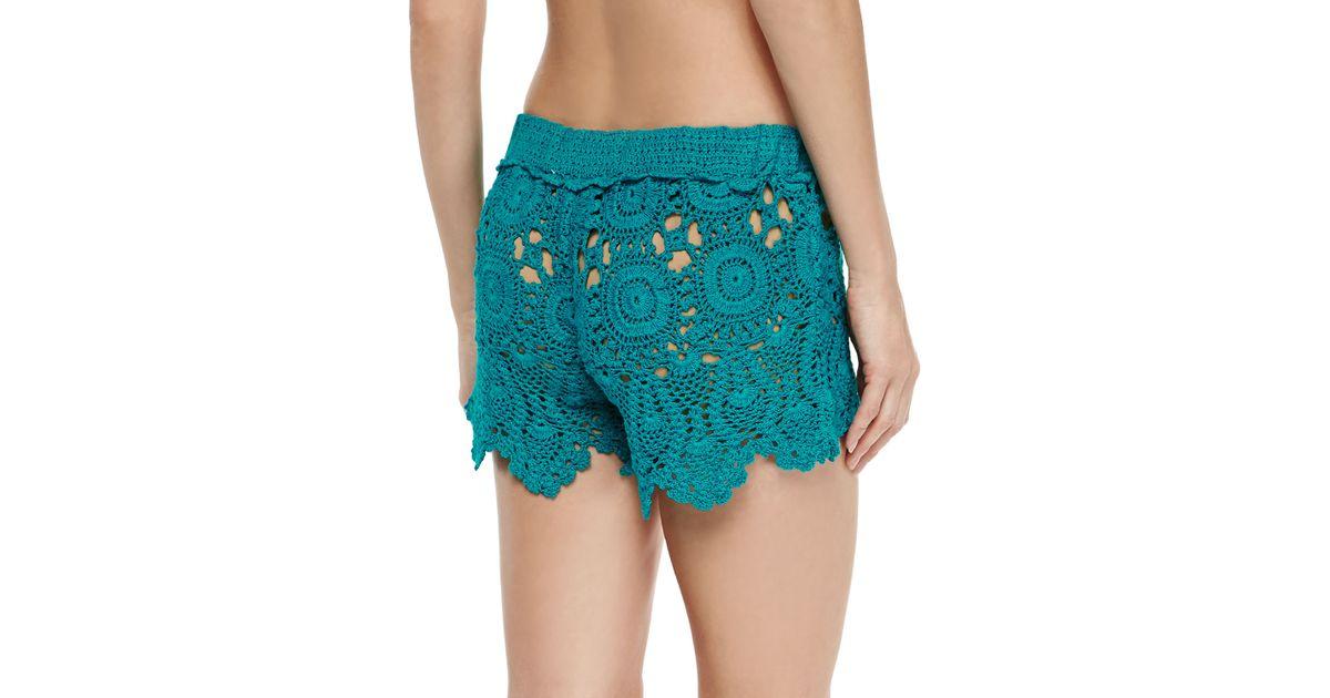 4b8a83ceac Letarte Crochet Coverup Shorts in Blue - Lyst