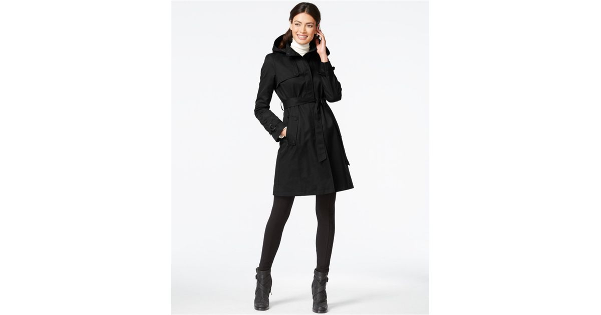 ca2773ffd DKNY Hooded Belted Trench Coat in Black - Lyst