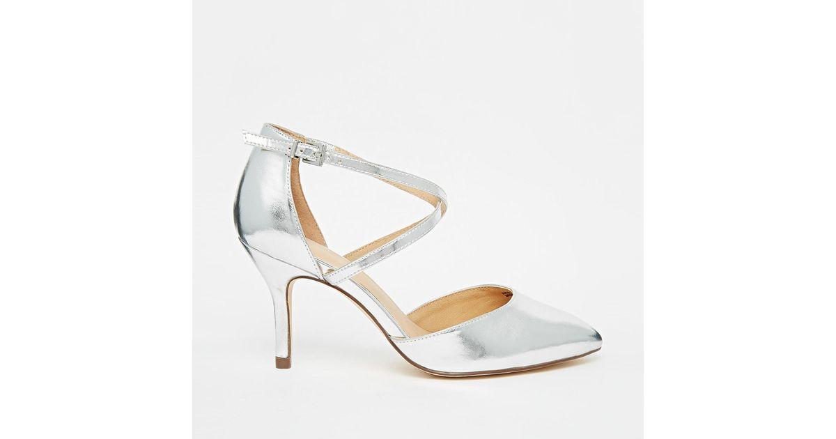 Asos Sally Wide Fit Pointed Heels in Metallic | Lyst