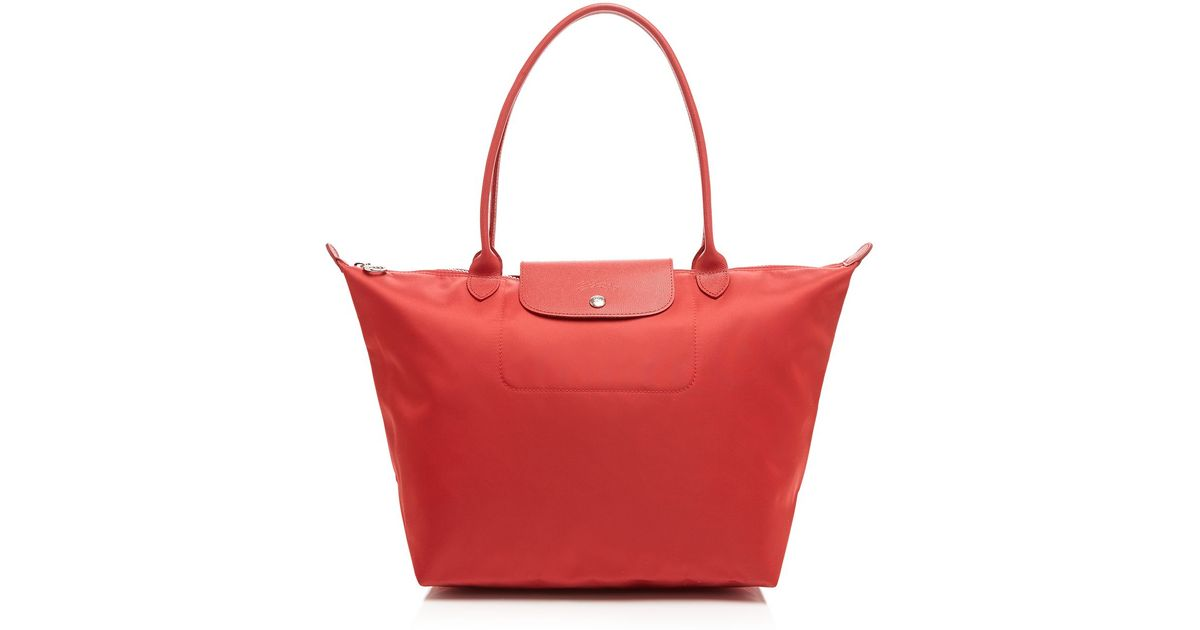 bbd87a539002 Lyst - Longchamp Tote - Le Pliage Neo Large in Red