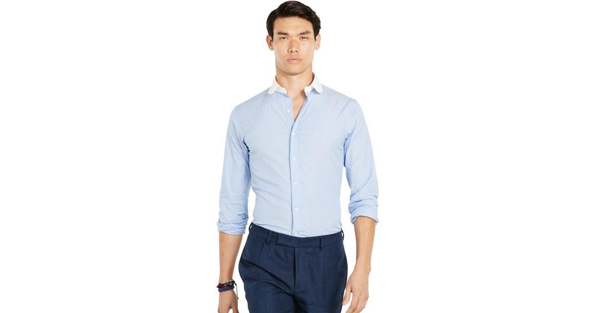Polo Ralph Lauren Slim Stretch Club Shirt In Blue For Men