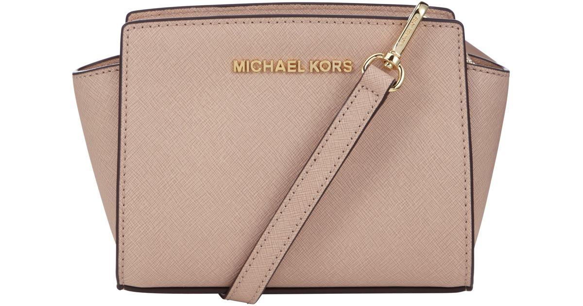 383b77b267eb MICHAEL Michael Kors Selma Saffiano Leather Mini Messenger Bag in Pink -  Lyst