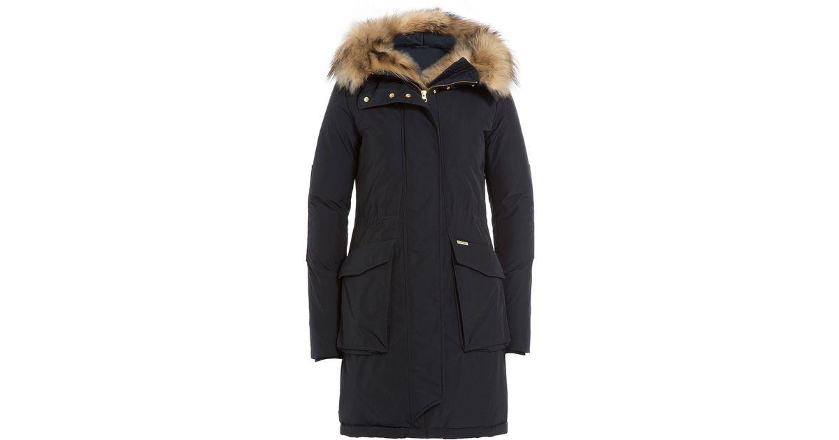 woolrich military eskimo down parka with fur trimmed hood blue in blue lyst. Black Bedroom Furniture Sets. Home Design Ideas