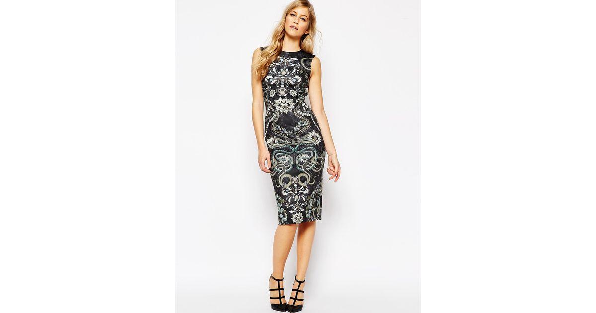 2995eb5b92cb06 Lyst - Ted Baker Bellia Gem Print Assymetric Dress in Black