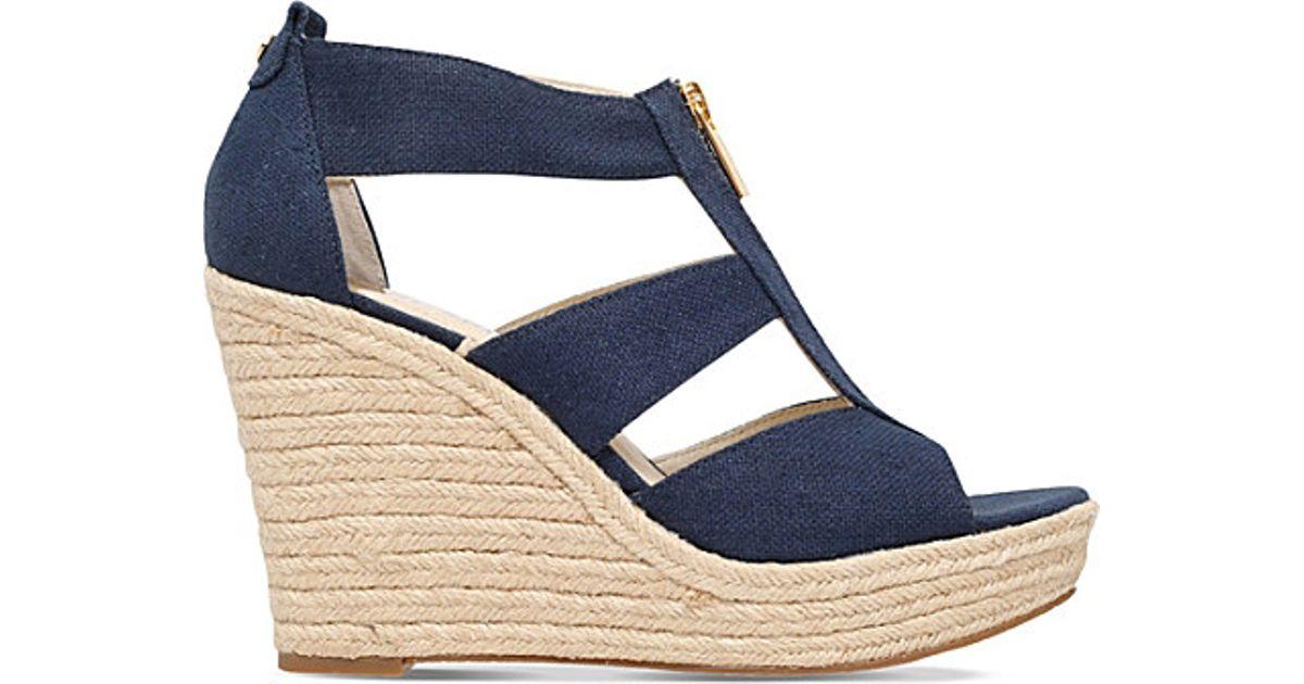 822c60e148b Lyst - MICHAEL Michael Kors Damita Denim Wedge Sandals in Blue
