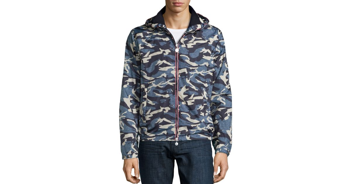 d38de71b109 Lyst - Moncler Camo Hooded Zip-up Jacket for Men