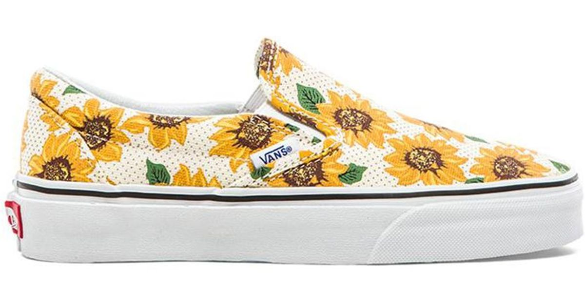 272b4a071e6 Lyst - Vans Classic Sunflower Slip On in Yellow