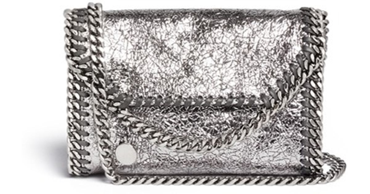 8592577bda878 Stella McCartney  falabella  Mini Metallic Crossbody Bag in Metallic - Lyst