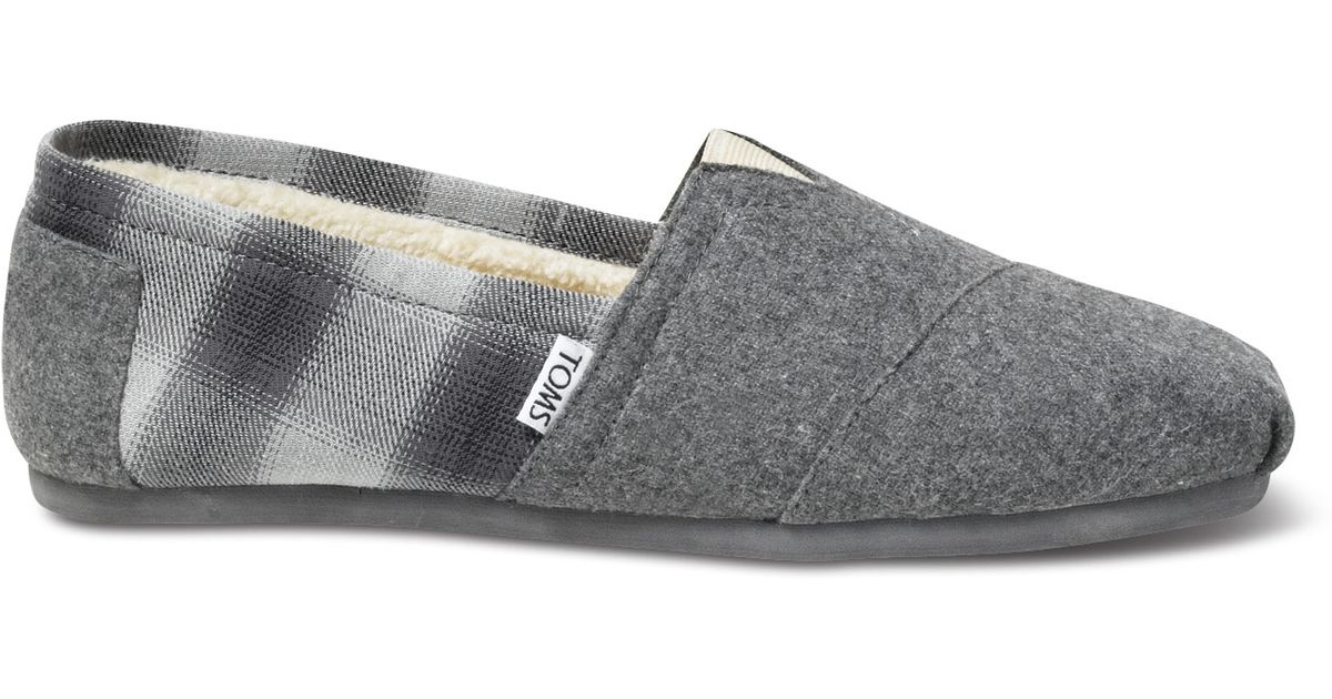 ab009a7e937 Lyst - TOMS Grey Wool Plaid Men S Classics in Gray for Men