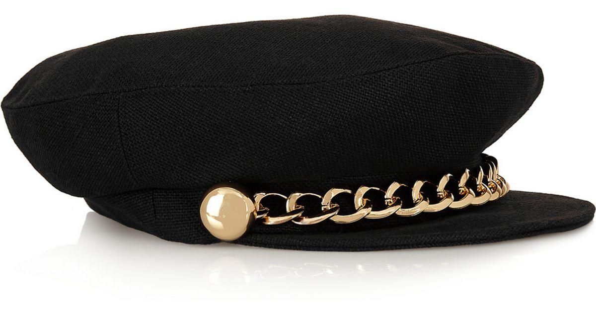 Sabrina Gold Chain Black Wool Felt Cap Eugenia Kim s8jjkA