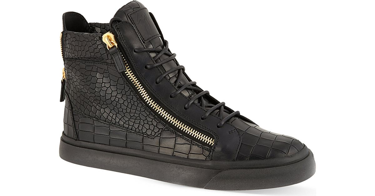 8157c55ccb9f1 Lyst - Giuseppe Zanotti Mock-croc Leather High-top Trainers in Black for Men